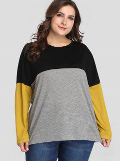 Camiseta De Manga Larga Color Block Plus Size - Multicolor 4x
