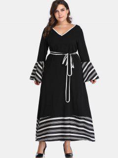 Belted Stripes Plus Size Dress - Black 4x