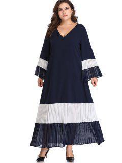 Flare Ärmel Farbblock Plus Size Dress - Mitternacht Blau 2x