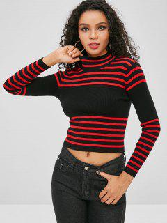Striped Ribbed Sweater - Black L