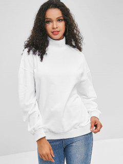 Ribbed Trim Mock Neck Sweatshirt - White S