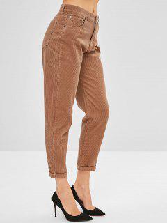 Pantalones De Pana Con Puño - Caqui Claro M