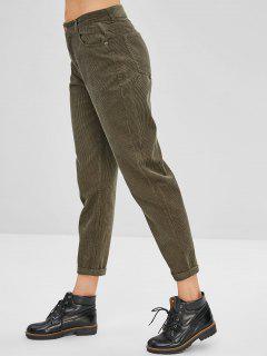 Pantalon En Velours Côtelé à Revers - Vert Armée L