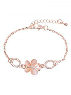 Rhinestoned Butterfly Design Chain Bracelet - Rose Gold