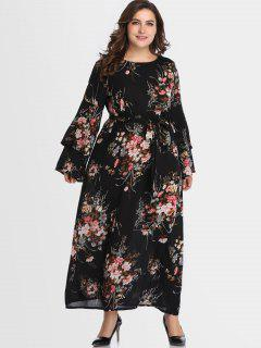 Belted Floral Flare Sleeve Plus Size Dress - Black 3x