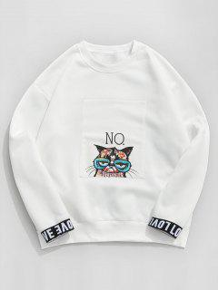 ZAFUL Love Cat Graphic Fleece Lined Sweatshirt - White M
