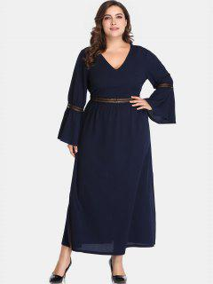 Slit Flare Sleeve Plus Size Dress - Cadetblue 1x