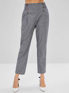 Striped High Waisted Pencil Pants - Battleship Gray M