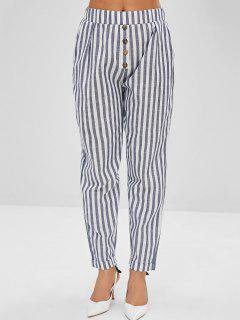 Buttoned Striped Pencil Chino Pants - Slate Blue S