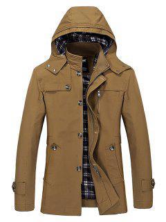Buttons Zip Hooded Trench Coat - Dark Khaki Xl