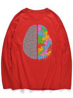 Chemise Manches Longues Avec Imprimé Cervelle  - Rouge Lave L