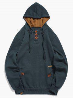 Button Embellish Drawstring Pullover Hoodie - Dark Slate Blue Xs