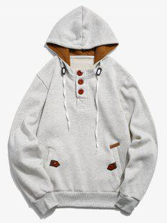 Button Embellish Drawstring Pullover Hoodie - Platinum Xs
