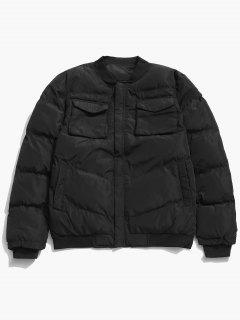 Zip Fly Flap Pocket Padded Jacket - Black Xs