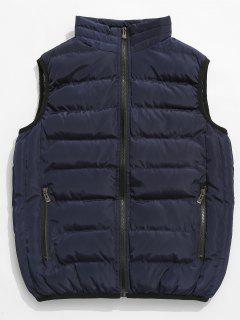 Solid Color Zip Pocket Padded Vest - Dark Slate Blue Xs