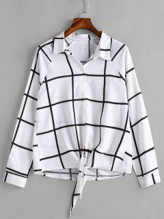 Button Down Checked Knotted Shirt - White L