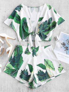 ZAFUL Leaf Print Crop Knot Top And Shorts Set - White S