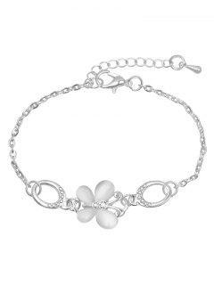 Rhinestoned Butterfly Design Chain Bracelet - Silver