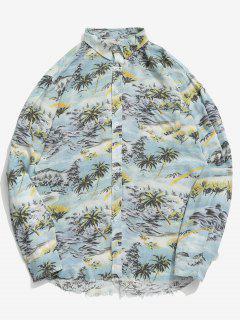 Camisa Con Dobladillo Deshilachado Y Estampado De árbol De Coco - Azul Marino L