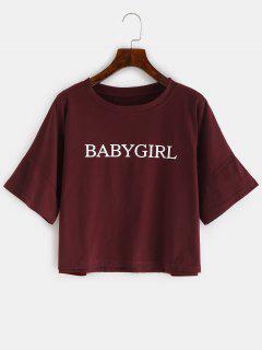 T-shirt Court à Imprimé Lettre ZAFUL Babygirl - Rouge Vineux S
