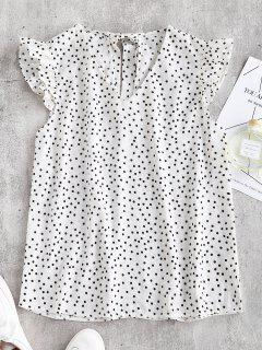 Rüschen Polka Dot Cap Bluse - Weiß M