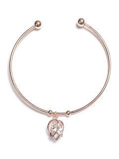 Bracelet Enveloppé Rose Design Avec Strass - Or De Rose