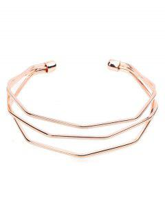Geometric Hollow Out Design Wrap Bracelet - Rose Gold
