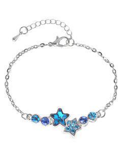 Rhinestoned Star Pattern Chain Bracelet - Silver