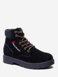 Letter Detail Suede Ankle Boots - Black Eu 36