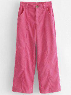Wide Leg High Waisted Corduroy Pants - Hot Pink M