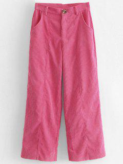 Wide Leg High Waisted Corduroy Pants - Hot Pink S