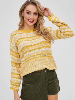 Striped Textured Knit Sweater - Multi-a