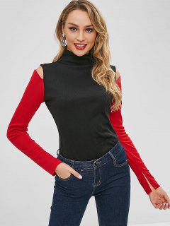 Two Tone Ribbed Cold Shoulder Top - Black M