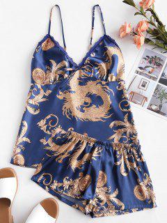Conjunto De Pijama De Encaje Estampado Satinado - Azul M