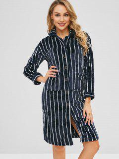 Flannel Striped Pocket Pajama Shirt Dress - Multi-a L