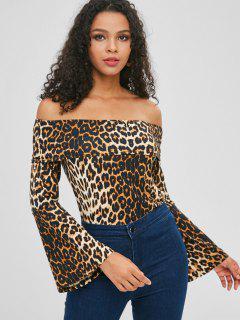 Leopard Print Off Shoulder Blouse - Leopard Xl