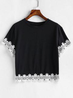Blumen Häkeln Drop Schulter T-Shirt - Schwarz L