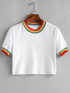 Camiseta De Rayas Acanalada - Blanco S