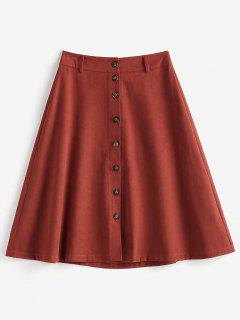 Button Fly A Line Skirt - Brown L