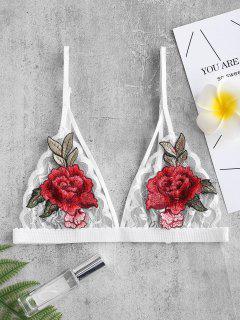 Flower Embroidered Lace Strappy Bra - Multi-a L