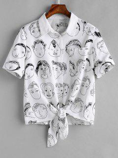 Chemise Graphique Avec Ourlet à Nouer - Blanc S