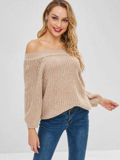 Off The Shoulder Chunky Sweater - Tan