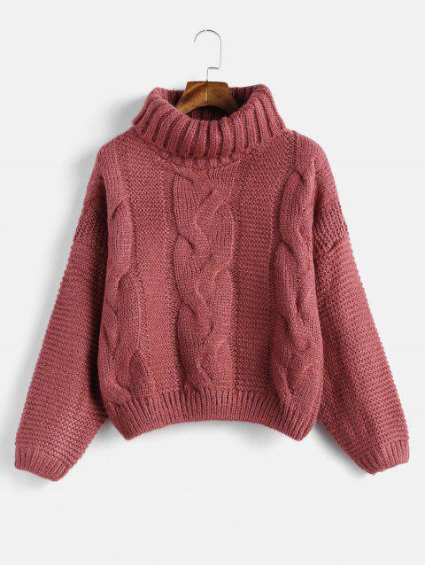 best Drop Shoulder Cable Knit Turtleneck Chunky Sweater - CHERRY RED ONE SIZE Mobile