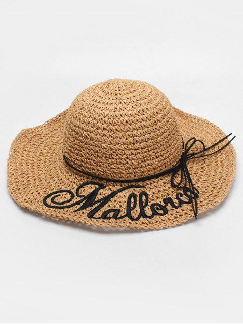 outfit Letter Print Bowknot Straw Hat - CAMEL BROWN  Mobile