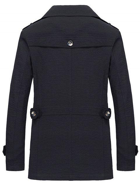ladies Lapel Zipper Decor Button Jacket - BLACK M Mobile