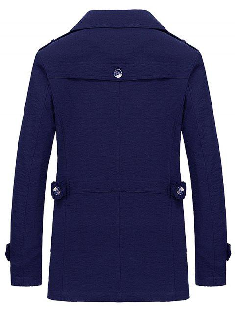 chic Lapel Zipper Decor Button Jacket - DEEP BLUE L Mobile
