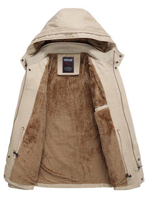 shops Soft Faux Fur Lined Thicken Jacket - LIGHT KHAKI L Mobile