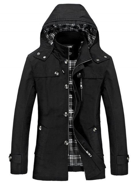 buy Buttons Zip Hooded Trench Coat - BLACK XL Mobile