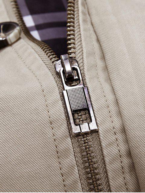 Trench-Coat à Capuche avec Boutons et Fermeture Éclair - Kaki Léger XL Mobile