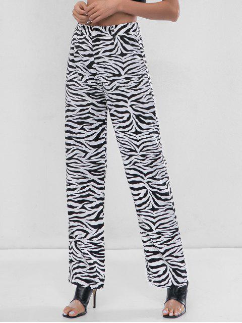 Pantalon large à imprimé zèbre - Blanc L Mobile